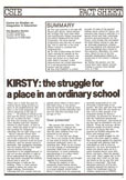 Kirsty - the Struggle for a Place in an Ordinary School cover image