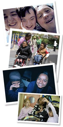 Montage of images: smiling teenagers (two have Down's Syndrome), wheelchairs in mainstream primary playground, Pupils wearing hijab and disabled learner in primary classroom